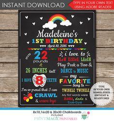 Rainbow 1st Birthday Chalkboard Poster Rainbow by printmagic