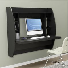 Wall desk, great for small spaces!   Might even fit inside a closet for a small space office!  Great Ideas