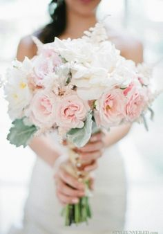 Possibilty: white peonies (or roses), pink spray roses, pink astilbe, dusty miller