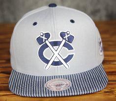 Chicago Blackhawks Mitchell & Ness Grey Crown Navy Denim Snapback Hat