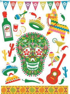 A selection of mexican themed party elements. Click below for more party and food and drink images.