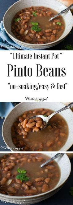 Ultimate Instant Pot Pinto Beans-easy quick and require no soaking. A gluten free household staple which is used for making burritos loaded nachos chili and soups. Made in an electric pressure cooker to remove lectins which can cause gut distress. Power Pressure Cooker, Instant Pot Pressure Cooker, Pressure Cooker Recipes, Pressure Cooking, Pinto Bean Soup, Crockpot Recipes, Cooking Recipes, Ninja Recipes, Cooking Pork