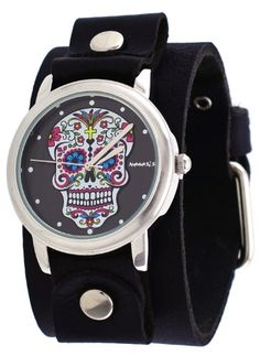 Nemesis #GB925K Women's Rock Collection Sugar Skull Black Wide Leather Cuff Band Watch Nemesis http://www.amazon.com/dp/B0043FP78I/ref=cm_sw_r_pi_dp_1WLPtb0RMR23Q9RM