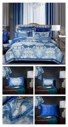 A Beautiful Blue Satin Silk Luxury Bedding Set to help you improve your bedroom decor with minimum effort and transform your bedroom. With this special bedding set you can improve your bedroom decor and create a more beautiful bed right in the center of your bedroom. A specially designed Luxury Bedding Set that is made with High Thread Count fabric to create a softer touch bedding set. #luxury #bedding #bedroom #luxurybedding #luxurybedroom #bluebedding #satinsilkbedding #silkbedding