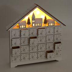 Wooden Advent Calendar | ZARA HOME United Kingdom Christmas Craft Show, Office Christmas, Christmas Baby, Wooden House Advent Calendar, Diy Advent Calendar, Wooden Calendar, Zara Home, Diy Calendario, Holiday Countdown