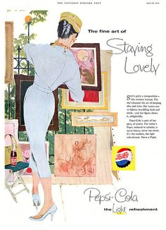 The fine art of staying lovely by drinking Pepsi!!  1950s