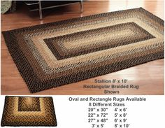 Country Rugs - Rectangle Country Braided Rug