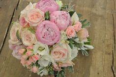 Bridal bouquet with peony,roses,sprayroses,lisianthus,seeded eucalyptus,dusty miller
