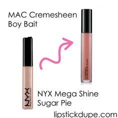 NYX Sugar Pie dupe MAC Boy Bait  www.lipstickdupe.com