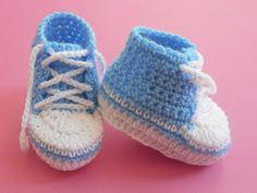 Crochet - Crosia Free Patttern with Video Tutorials: Baby Converse Booties