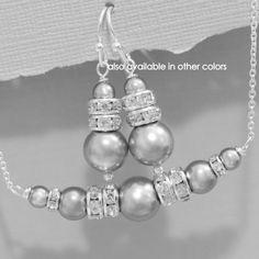 Bridesmaid Gift Bridesmaid Jewelry Set Wedding Jewelry Swarovski Pearl... ($20) ❤ liked on Polyvore featuring jewelry, earrings, jewelry sets, silver, weddings, pearl jewellery, set jewelry, white pearl earrings, pearl wedding jewelry sets and pearl jewelry