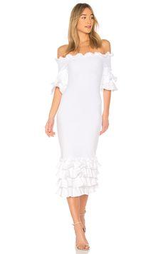 2fc8b77fed Donna Mizani Pishi Midi Dress in White Ruffle Trim, Ruffles, Party Outfits,  Clothes