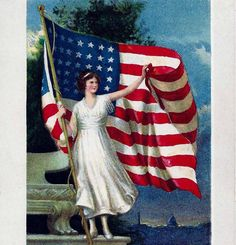 4th of July Flag Waving Postcard with Verse