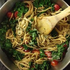 Kale Whole Wheat Pasta – Easy Recipe Kale and Pasta - Pumpkin seeds? Splurge and use pine nuts. Go the extra mile and increase the protein content by adding drained and rinsed canned garbanzo beans or cannellini beans. Kale Recipes, Pasta Recipes, Vegetarian Recipes, Cooking Recipes, Healthy Recipes, I Love Food, Good Food, Healthy Cooking, Healthy Eating