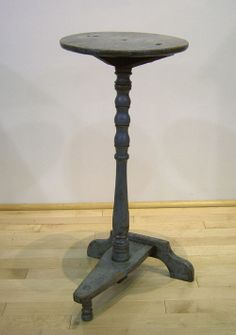 18th c. T form base candle stand in original grey paint.  google.com