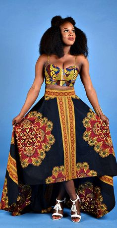 NEW Black punch African print High- Low Skirt. Our High low skirts are a must…
