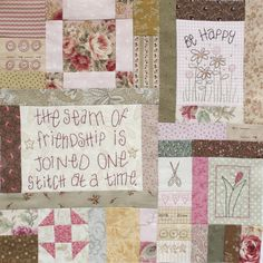 seam of friendship quilt block- cute block to add to a signature quilt