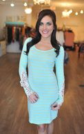 Crochet Striped Dress- Aqua/Yellow