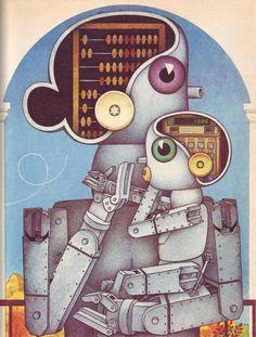 Mummy Was A Robot, Daddy Was A Small Non-Stick Kitchen Utensil - Illustration by E. Benyaminson for the Russian children's book, Hello, I'm Robot! by Stanislav Zigunenko, 1989