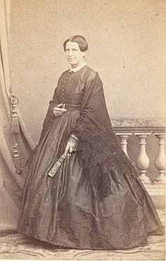 1860's ~ Woman With Shawl & Fan