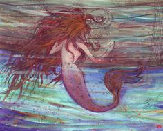 Mermaid and Sunset double sided 8x10 limited by thepaintedhollow, $15.00