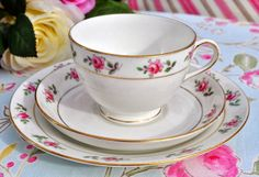 antique Tuscan china pink roses teacup trio