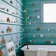 i like this idea for a bathroom, i'm not sure what i would put on the shelves, but i don't collect shells