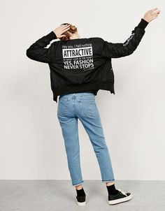 BSK text bomber jacket. Discover this and many more items in Bershka with new…