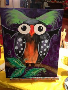 Halloween owl canvas painting! I love Halloween!