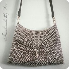 Handmade Chainmail Shoulder Bag in Metallic Silver Color by XnPurple on Etsy