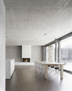 Dine! Minimally. Eames chairs, unfinished wood, a wall of windows. Interior Design & Architecture:Berger Röcker Architekten/ Peter Röcker + Ansprechpartner