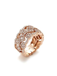 Rose Gold & Diamond Cutout Band Ring