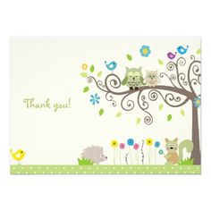 Cute Green Owl Neutral Baby Shower Thank You Cards