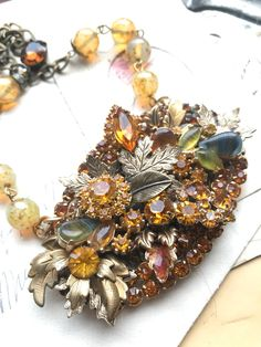 one of a kind art statement necklace for Autumn with leaves, chunky collage antique buckle assemblage necklace, topaz necklace by Sacredcake Gold Statement Earrings, Aquamarine Necklace, Brass Chain, Vintage Rhinestone, Beautiful Necklaces, Topaz, Collage, Leaves, Autumn