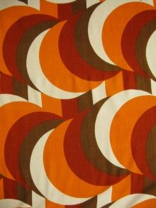 circle over stripe, vintage geo, textile, 70's