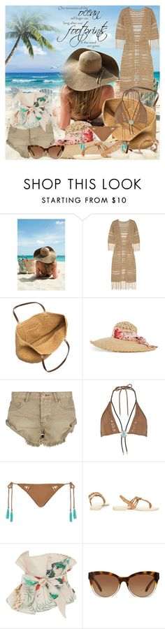 """""""Memories Of The Ocean"""" by lucky-ruby ❤ liked on Polyvore featuring Melissa Odabash, J.Crew, Gucci, One Teaspoon, River Island, FOOTPRINTS, Johanna Ortiz, Michael Kors, Summer and brown"""