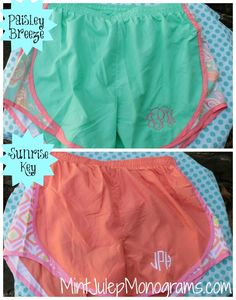 monogrammed Running Shorts...love these pretty prints!