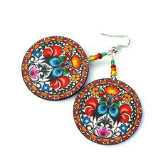 Folk Rooster polish folk motif Earrings Round and by MADEbyMADA, $20.00
