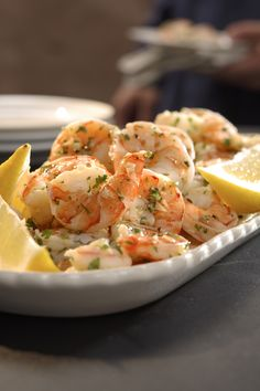 Marinating precooked shrimp in garlic- and lemon-infused oil is a simple yet elegant appetizer. Lemon-Garlic Marinated Shrimp. Serves 12. Active Time: 10 minutes. Total Time: 10 minutes. 3 tablespoons minced garlic.