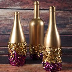 Glamorous Golden Sequin Vases | Perfect for girlfriend's blingy birthday party! AllFreeHolidayCrafts.com