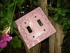 Double Light Switch Plate/ Cottage Chic / Girls by Theshabbyshak, $12.00
