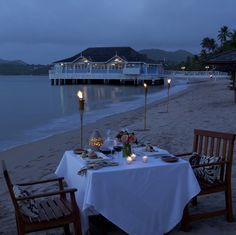 Private beach dinner with ocean view
