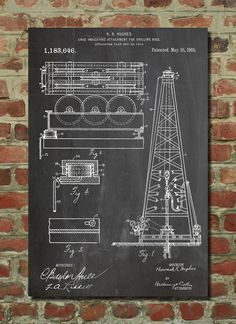 Oil Drilling Rig Patent Howard Hughes 1916 Wall by PatentPrints, $6.99