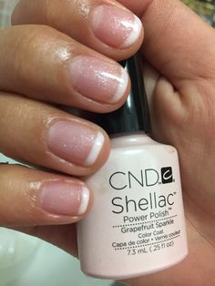 So clean! Shellac French mani done with cream puff and grapefruit sparkle - My best nail list Sparkle Nail Polish, Shellac Nail Polish, Shellac Nail Colors, Nail Manicure, Manicure Ideas, Nail Polishes, Gel Nails French, Fabulous Nails, Stylish Nails