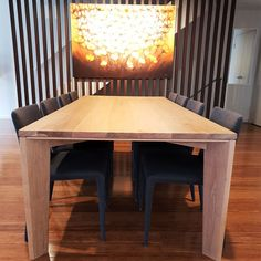 //The table can be stained in a variety of finishes to suit your decor and bring your dining room to life. Timber Dining Table, Dining Chairs, Dining Room, Tables, Suit, It Is Finished, Wood, Life, Furniture