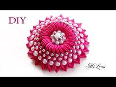 Большой цветок с бусинами / МК / DIY Ribbon flower / DIY Flower with beads - YouTube