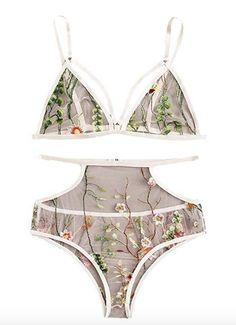 SheIn Women's Sexy Lace Garter Lingerie Set Push Up Bra Underwear Garter 3 Piece Sheer Lingerie, Lingerie Set, Fashion Brands, Bikinis, Swimwear, Underwear, Sexy Women, Thong Bikini, Topshop