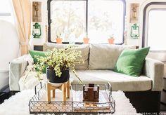 32 Stunning Rv Decor To Consider Right Now - Interior Design Ideas & Home Decorating Inspiration - moercar Airstream Interior, Airstream Remodel, Camper Renovation, Trailer Remodel, School Bus Tiny House, Camper Makeover, Diy Sofa, Rv Living, Tiny Living