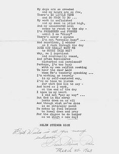 My days are so crowded. by Helen Steiner Rice American writer of religious and . Mother Quotes, Mom Quotes, Family Quotes, Bible Verses Quotes, Poetry Quotes, Bible Scriptures, Helen Steiner Rice Poems, Miss U Mom, Religious Poems