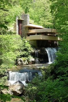 Fallingwater or the Kaufmann Residence is a house designed by architect Frank Lloyd Wright in 1935 in rural southwestern Pennsylvania, 43 miles southeast of Pittsburgh.[4] The home was built partly over a waterfall on Bear Run in the Mill Run section of Stewart Township, Fayette County, Pennsylvania, in the Laurel Highlands of the Allegheny Mountains. The house was designed as a weekend home for the family of Liliane Kaufmann and her husband, Edgar J. Kaufmann, owner of Kaufmann's departm...